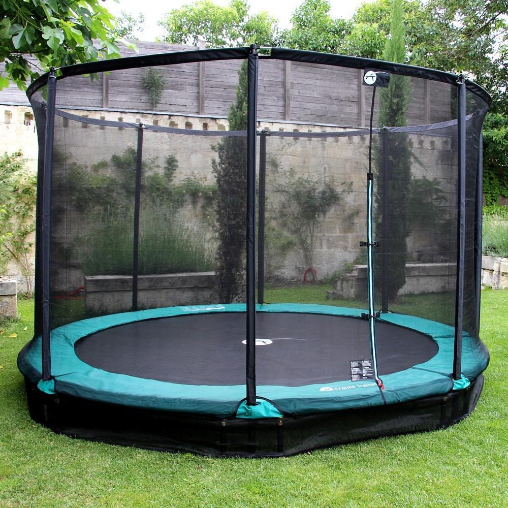 12ft jump 39 inground 360 trampoline with enclosure. Black Bedroom Furniture Sets. Home Design Ideas
