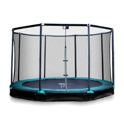 14ft Jump'in ground 430 trampoline with enclosure