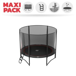 Maxi Pack 10ft Trampoline Black Booster 300 +safety enclosure + Ladder + Anchor Kit + cover