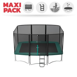 Maxi pack Apollo Sport 400 trampoline with safety enclosure + ladder + anchor kit + cover