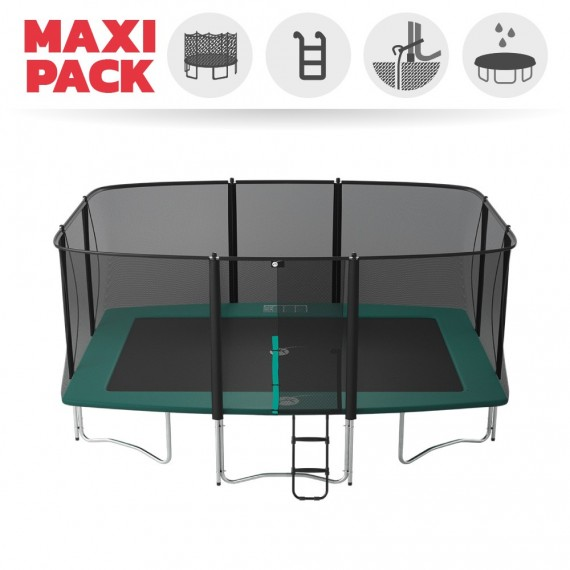 Maxi Pack Trampoline Apollo Sport 500 avec filet + Échelle + Kit d'ancrage + Housse
