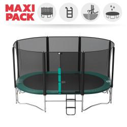 Maxi Pack Trampoline Ovalie 490 avec filet + Échelle + Kit d'ancrage + Housse