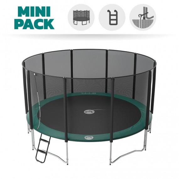 Mini Pack Trampoline Jump'Up 460 avec Filet + Échelle + Kit d'ancrage