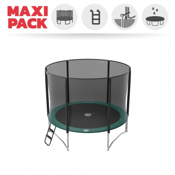 Maxi pack 10ft Jump'Up 300 trampoline with safety enclosure + ladder + anchor kit + cover