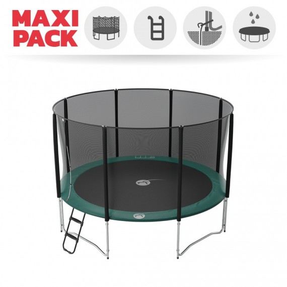 Maxi Pack Jump'Up 390 avec Filet + Échelle + Kit d'ancrage + Housse Premium