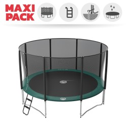 Maxi pack 14ft Jump'Up 430 trampoline with safety enclosure + ladder + anchor kit + cover