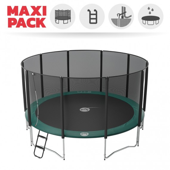 Maxi pack 15ft Jump'Up 460 trampoline with safety enclosure + ladder + anchor kit + cover
