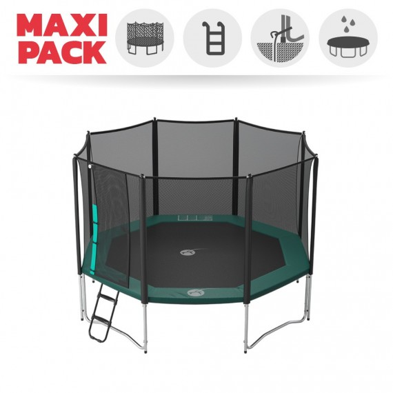 Maxi Pack Trampoline Waouuh 390 avec filet + Échelle + Kit d'ancrage + Housse
