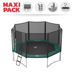 Maxi pack 14ft Waouuh 430 trampoline with safety enclosure + ladder + anchor kit + cover