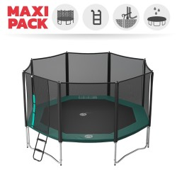 Maxi pack 15ft Waouuh 460 trampoline with safety enclosure + ladder + anchor kit + cover