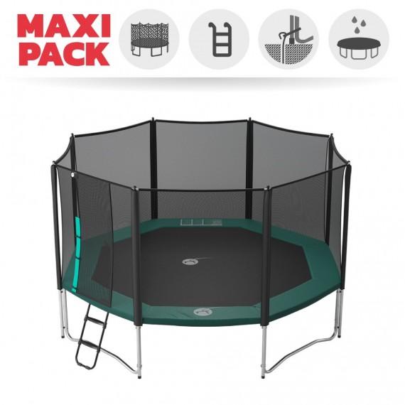 Maxi Pack Trampoline Waouuh 460 avec filet + Échelle + Kit d'ancrage + Housse