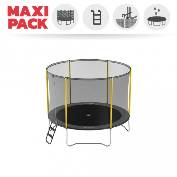 Maxi Pack Trampoline Initio 300 avec Filet + Échelle + Kit d'ancrage + Housse