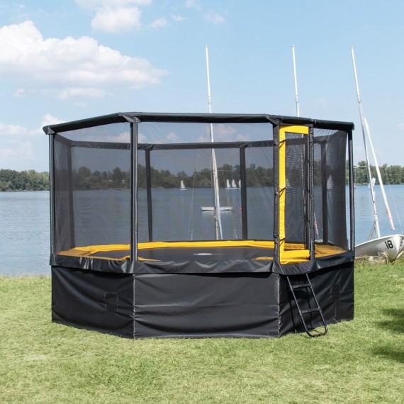 Trampoline ProPulse avec filet de protection, échelle et panneau de sécurité