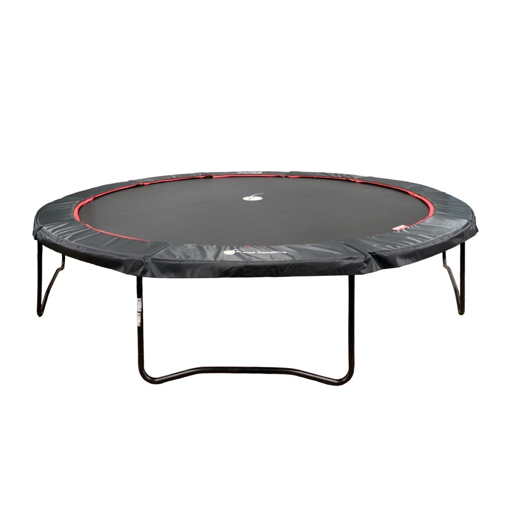 16ft black Booster 490 trampoline with safety enclosure
