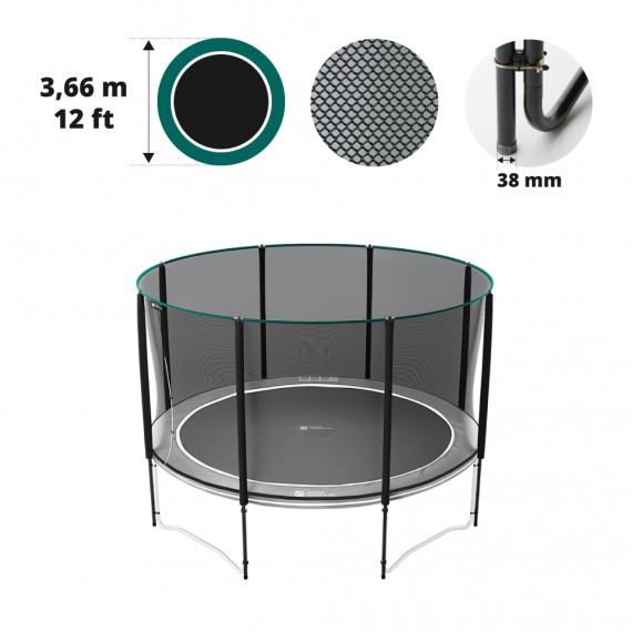 Filet premium avec 8 montants pour trampoline Ø 366