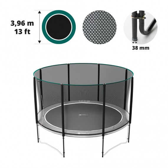 Filet premium avec 8 montants pour trampoline Ø 396