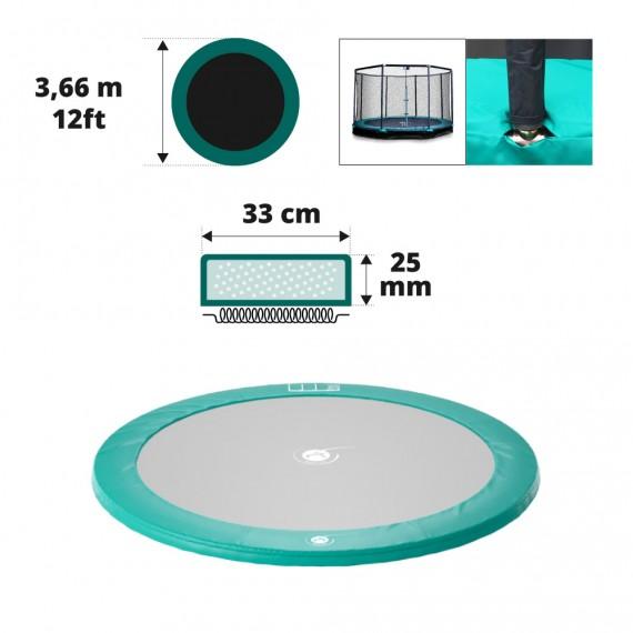 Coussin de protection vert trampoline enterré Ø366