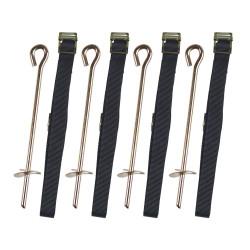 4 tiges en métal à ailettes et sangles textiles noires