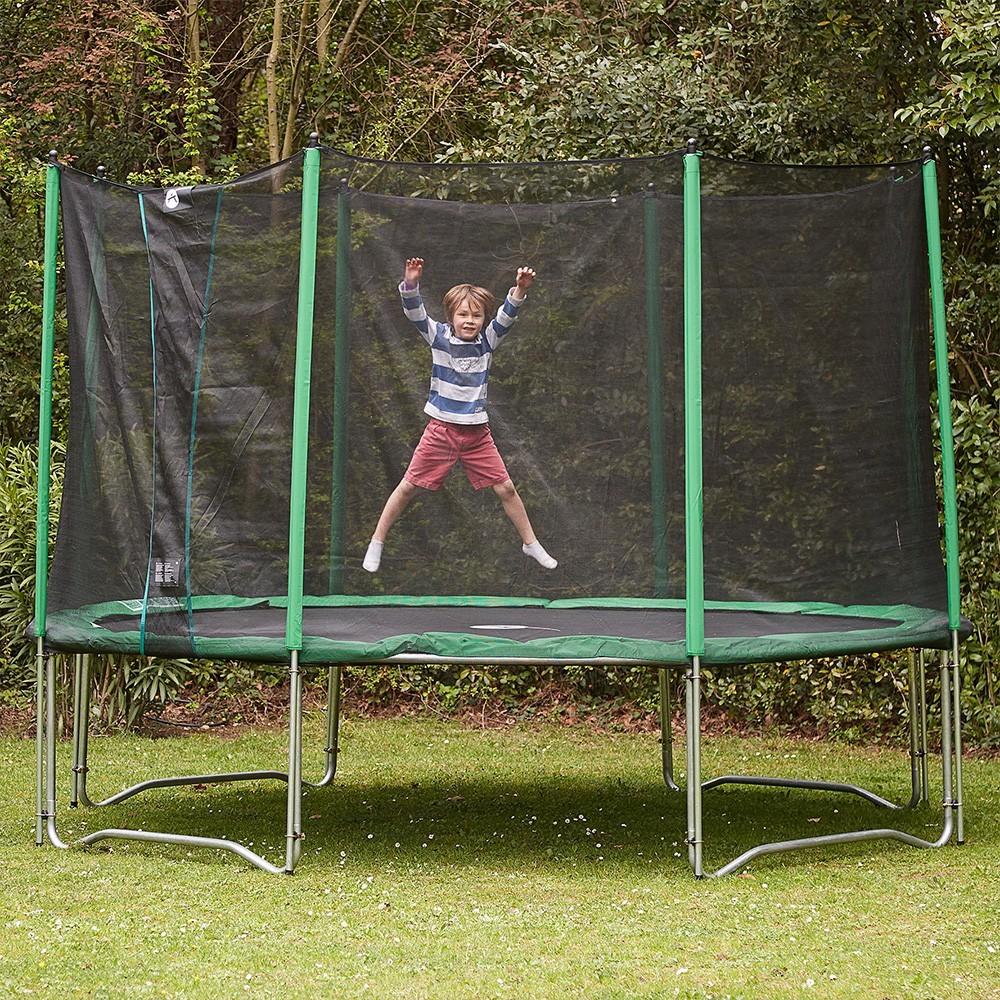 trampoline rond access 430 avec filet de protection. Black Bedroom Furniture Sets. Home Design Ideas