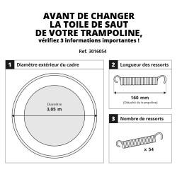 Toile de saut pour trampoline 300 à 54 ressorts 160 mm