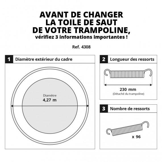 Toile de saut pour trampoline 430 à 96 ressorts 230 mm