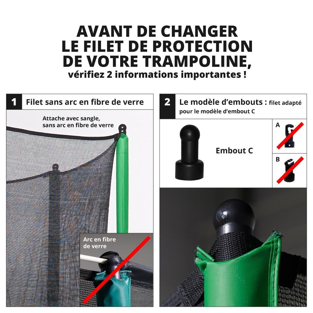 Filet textile avec sangle pour trampoline rond 2 50 m - Filet de protection trampoline 244 ...