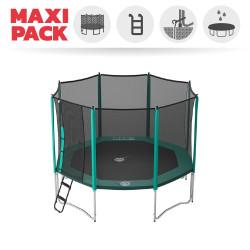 Maxi Pack Trampoline Waouuh 360 avec filet + Échelle + Kit d'ancrage + Housse