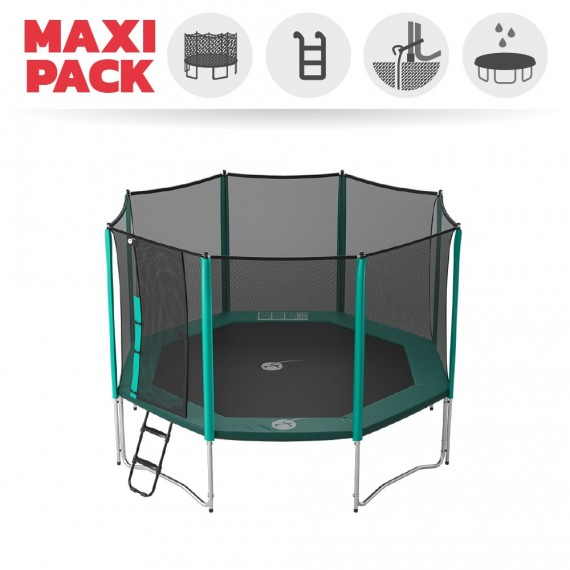 Maxi pack 13ft Waouuh 390 trampoline with safety enclosure + ladder + anchor kit + cover