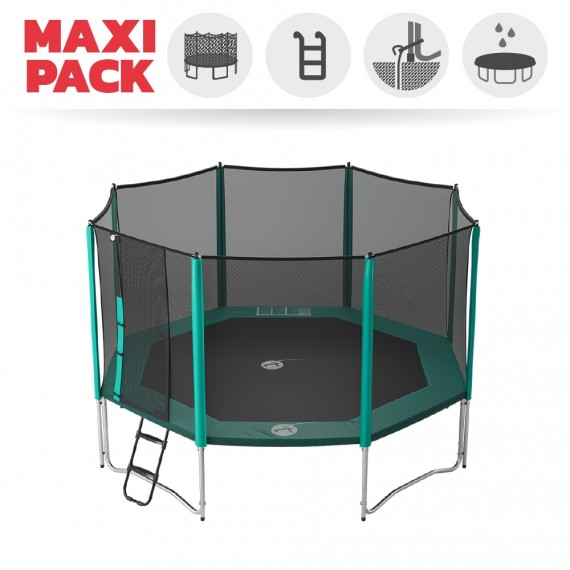 Maxi Pack Trampoline Waouuh 430 avec filet + Échelle + Kit d'ancrage + Housse