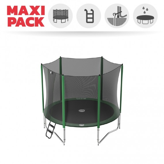 Maxi pack 10ft Access 300 trampoline with enclosure + ladder + anchor kit + cover