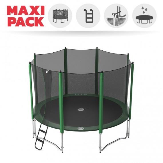 Maxi Pack Trampoline Access 390 avec Filet + Échelle + Kit d'ancrage + Housse basique