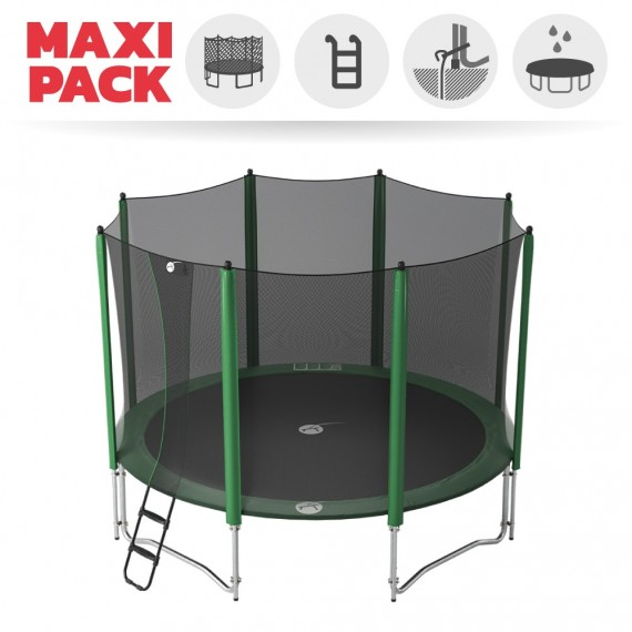 Maxi pack 14ft Access 430 trampoline with enclosure + ladder + anchor kit + cover