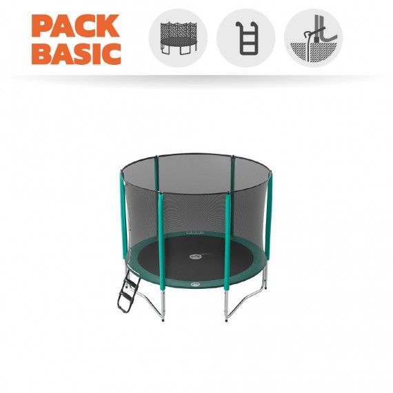 Pack Basic Trampoline Jump'Up 250 avec Filet + Échelle + Kit d'ancrage
