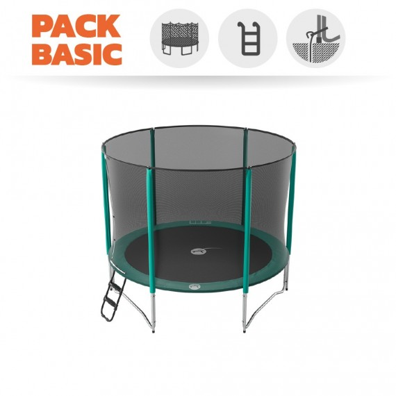Pack Basic Trampoline Jump'Up 300 avec Filet + Échelle + Kit d'ancrage