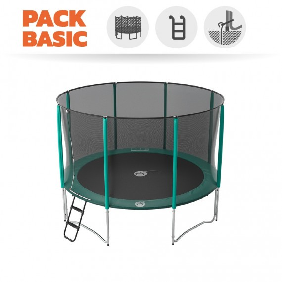 Basic pack 12ft Jump'Up 360 trampoline with safety enclosure + ladder + anchor kit