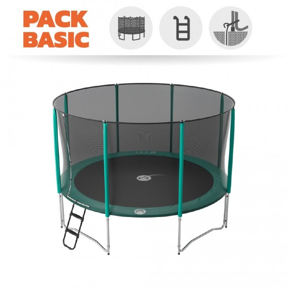 Pack Basic Trampoline Jump'Up 390 avec Filet + Échelle + Kit d'ancrage