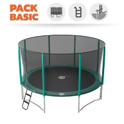Basic pack 14ft Jump'Up 430 trampoline with safety enclosure + ladder + anchor kit