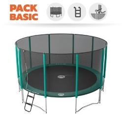 Pack Basic Trampoline Jump'Up 460 avec Filet + Échelle + Kit d'ancrage