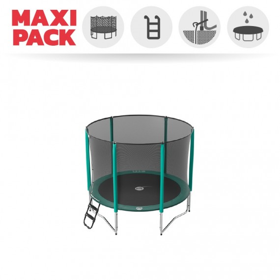 Maxi pack 8ft Jump'Up 250 trampoline with safety enclosure + ladder + anchor kit + cover