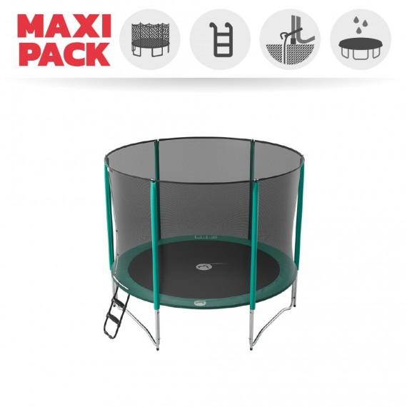 Maxi Pack Trampoline Jump'Up 300 avec Filet + Échelle + Kit d'ancrage + Housse