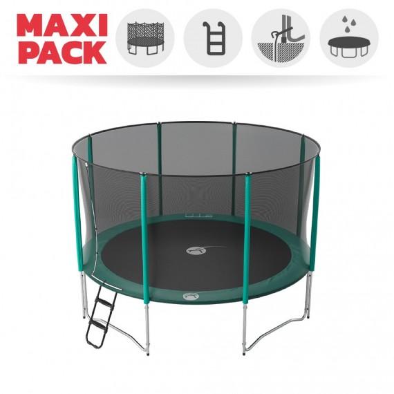 Maxi Pack Trampoline Jump'Up 390 avec Filet + Échelle + Kit d'ancrage + Housse