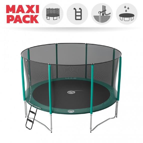 Maxi Pack Trampoline Jump'Up 430 avec Filet + Échelle + Kit d'ancrage + Housse