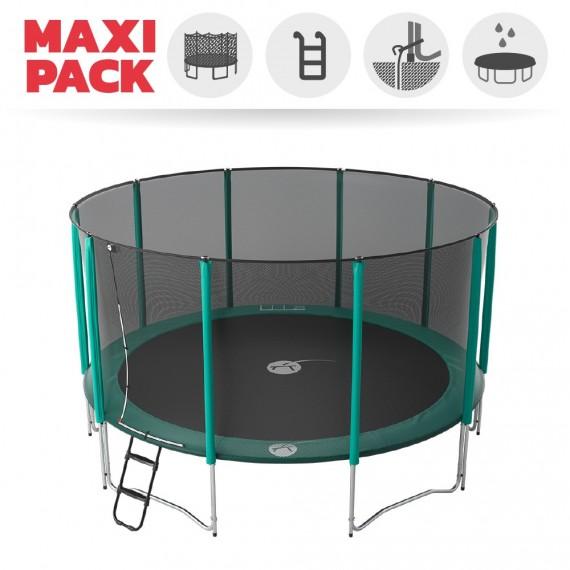 Maxi Pack Trampoline Jump'Up 460 avec Filet + Échelle + Kit d'ancrage + Housse