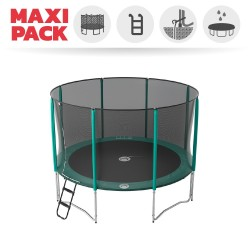 Maxi pack 12ft Jump'Up 360 trampoline with safety enclosure + ladder + anchor kit + cover