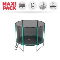 Maxi Pack Trampoline Booster 300 avec filet + Échelle + Kit d'ancrage + Housse