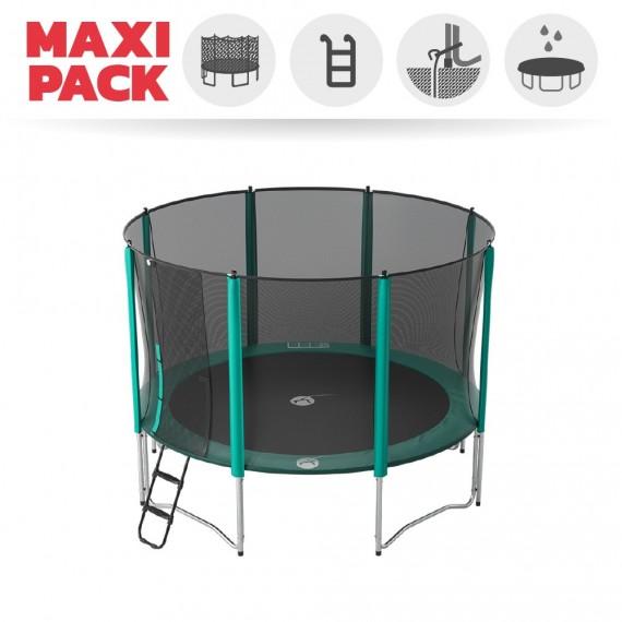 Maxi Pack Trampoline Booster 360 avec filet + Échelle + Kit d'ancrage + Housse