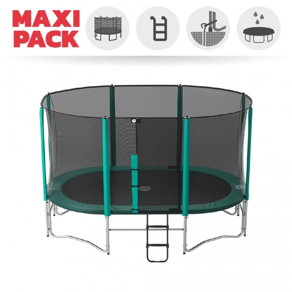 Maxi pack 14ft Ovalie 430 trampoline with safety enclosure + ladder + anchor kit + cover