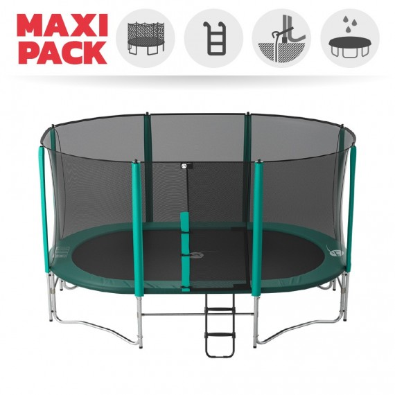 Maxi pack 16ft Ovalie 490 trampoline with safety enclosure + ladder + anchor kit + cover