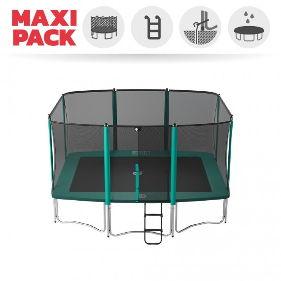 Maxi Pack Trampoline Apollo Sport 400 avec filet + Échelle + Kit d'ancrage + Housse