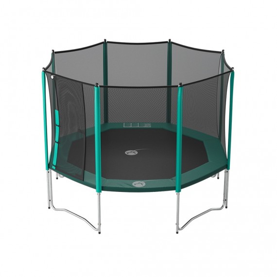12ft Waouuh 360 trampoline with safety enclosure and ladder